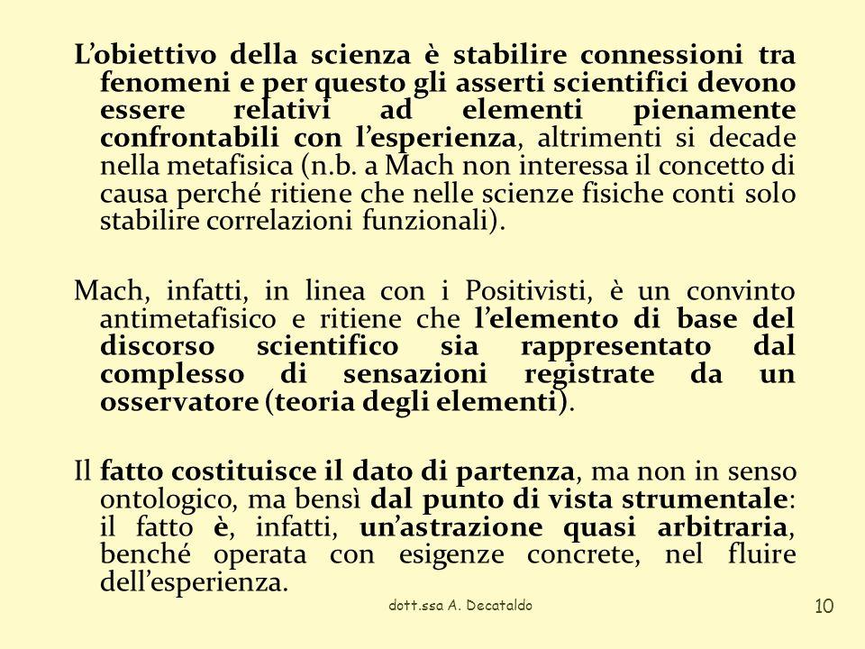 Lobiettivo della scienza è stabilire connessioni tra fenomeni e per questo gli asserti scientifici devono essere relativi ad elementi pienamente confr