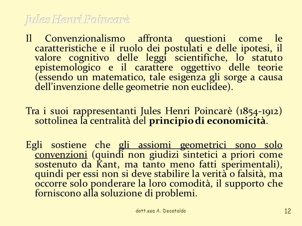 Il Convenzionalismo affronta questioni come le caratteristiche e il ruolo dei postulati e delle ipotesi, il valore cognitivo delle leggi scientifiche,