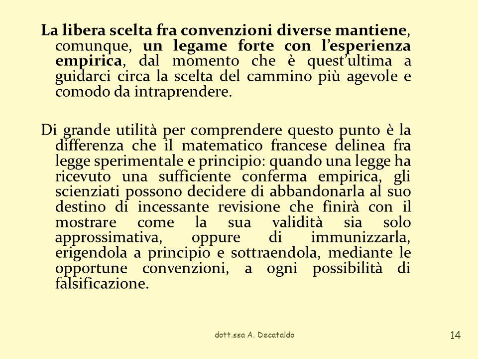 La libera scelta fra convenzioni diverse mantiene, comunque, un legame forte con lesperienza empirica, dal momento che è questultima a guidarci circa
