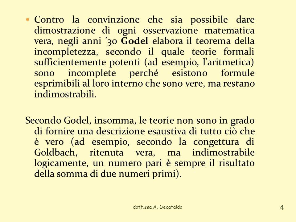 Contro la convinzione che sia possibile dare dimostrazione di ogni osservazione matematica vera, negli anni 30 Godel elabora il teorema della incomple