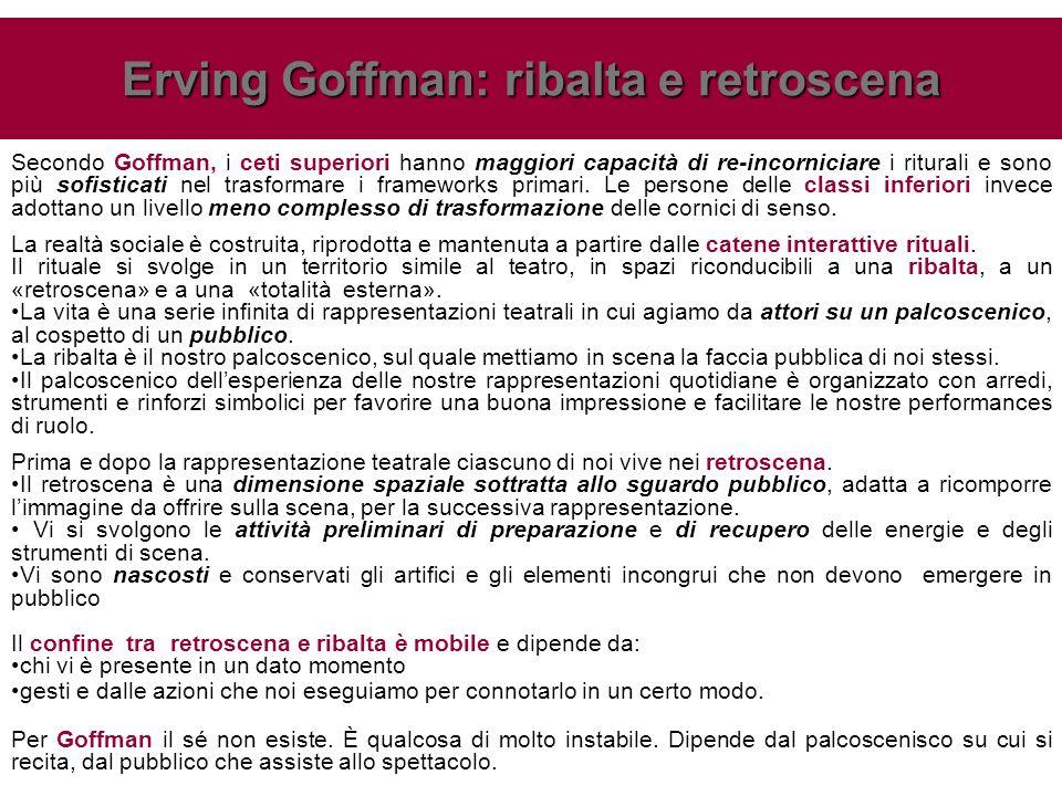 Secondo Goffman, i ceti superiori hanno maggiori capacità di re-incorniciare i riturali e sono più sofisticati nel trasformare i frameworks primari. L