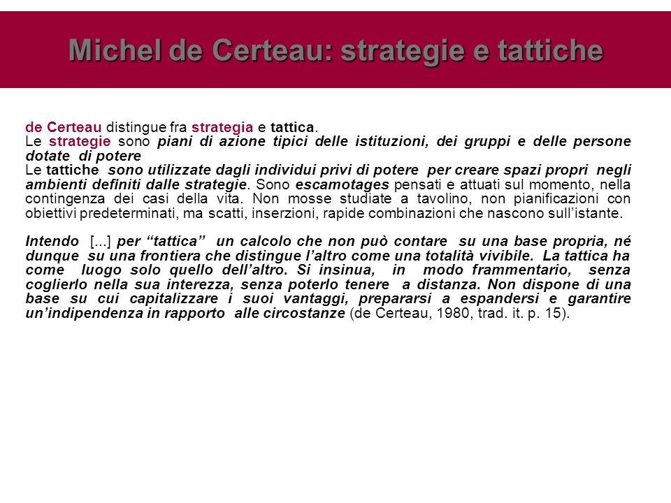 de Certeau distingue fra strategia e tattica.