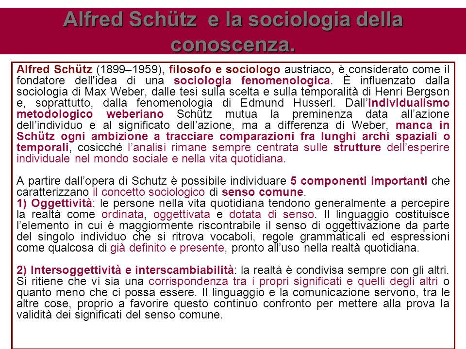 Alfred Schütz (1899–1959), filosofo e sociologo austriaco, è considerato come il fondatore dell idea di una sociologia fenomenologica.