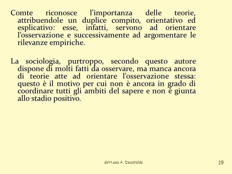 Comte riconosce limportanza delle teorie, attribuendole un duplice compito, orientativo ed esplicativo: esse, infatti, servono ad orientare losservazione e successivamente ad argomentare le rilevanze empiriche.