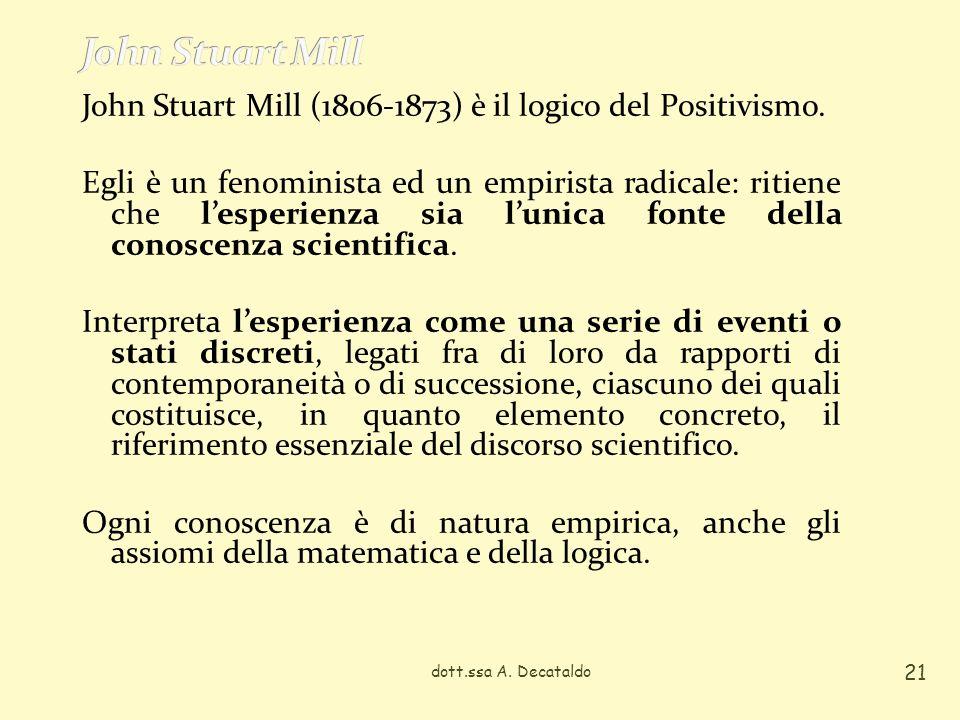 John Stuart Mill (1806-1873) è il logico del Positivismo.