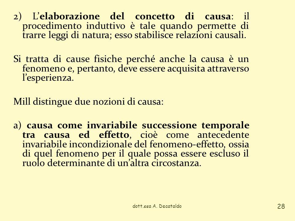 2) Lelaborazione del concetto di causa: il procedimento induttivo è tale quando permette di trarre leggi di natura; esso stabilisce relazioni causali.