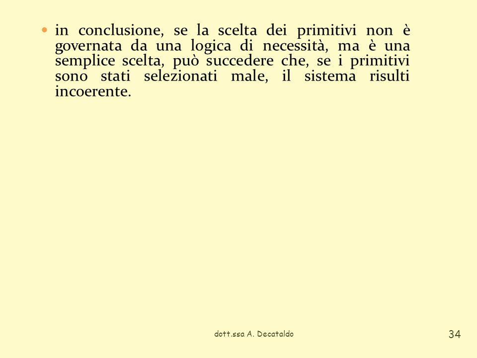 in conclusione, se la scelta dei primitivi non è governata da una logica di necessità, ma è una semplice scelta, può succedere che, se i primitivi sono stati selezionati male, il sistema risulti incoerente.