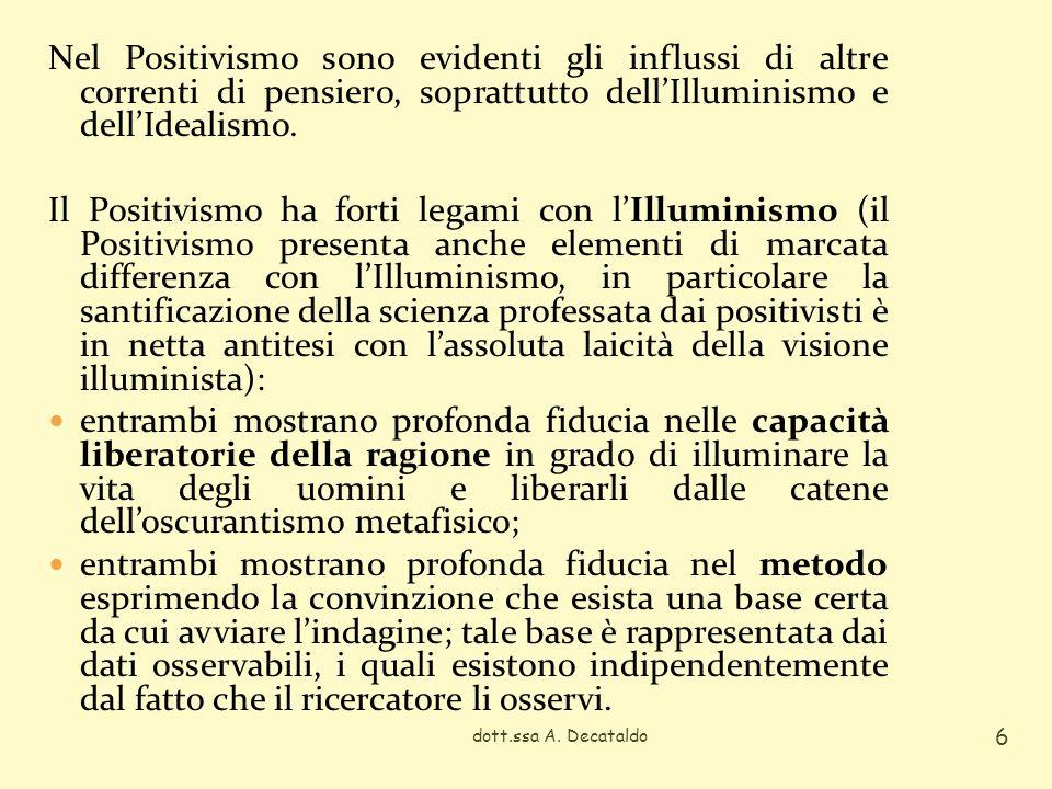 Nel Positivismo sono evidenti gli influssi di altre correnti di pensiero, soprattutto dellIlluminismo e dellIdealismo.