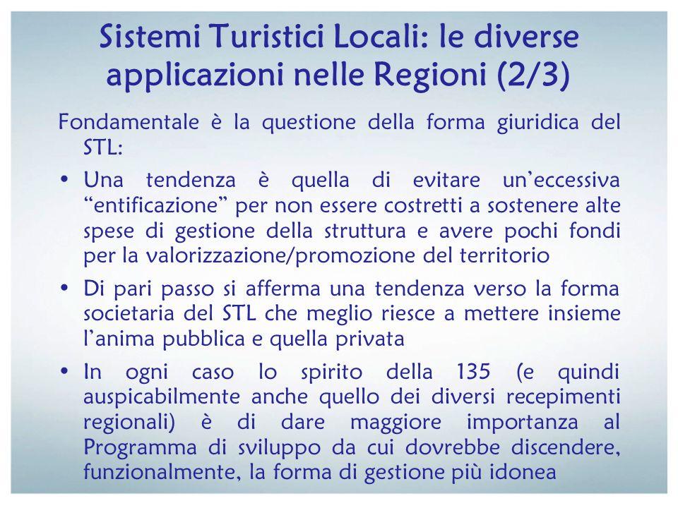 Sistemi Turistici Locali: le diverse applicazioni nelle Regioni (2/3) Fondamentale è la questione della forma giuridica del STL: Una tendenza è quella