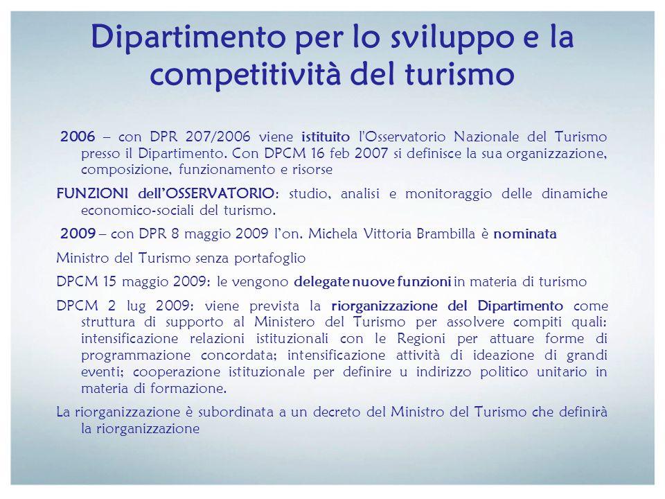 Dipartimento per lo sviluppo e la competitività del turismo 2006 – con DPR 207/2006 viene istituito l'Osservatorio Nazionale del Turismo presso il Dip