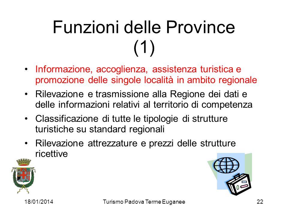 18/01/2014Turismo Padova Terme Euganee22 Funzioni delle Province (1) Informazione, accoglienza, assistenza turistica e promozione delle singole locali