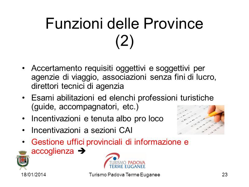18/01/2014Turismo Padova Terme Euganee23 Funzioni delle Province (2) Accertamento requisiti oggettivi e soggettivi per agenzie di viaggio, associazion
