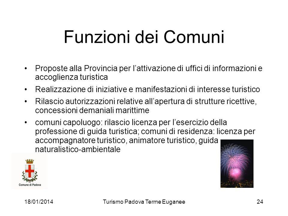 18/01/2014Turismo Padova Terme Euganee24 Funzioni dei Comuni Proposte alla Provincia per lattivazione di uffici di informazioni e accoglienza turistic