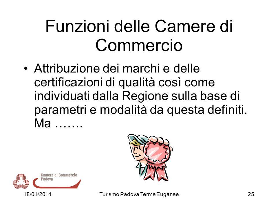 18/01/2014Turismo Padova Terme Euganee25 Funzioni delle Camere di Commercio Attribuzione dei marchi e delle certificazioni di qualità così come indivi
