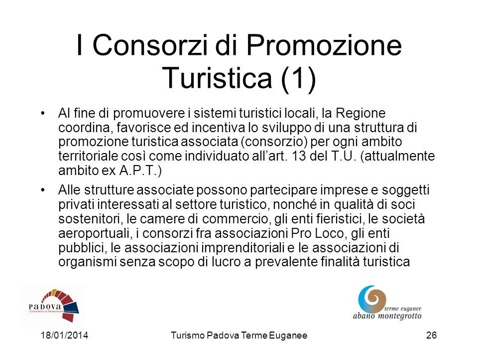 18/01/2014Turismo Padova Terme Euganee26 I Consorzi di Promozione Turistica (1) Al fine di promuovere i sistemi turistici locali, la Regione coordina,