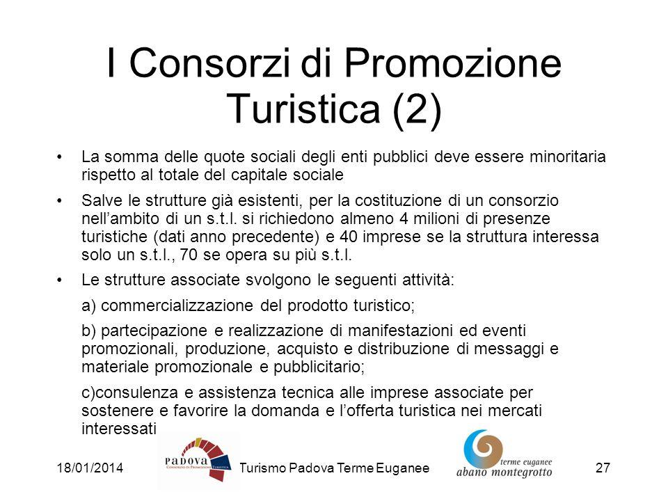 18/01/2014Turismo Padova Terme Euganee27 I Consorzi di Promozione Turistica (2) La somma delle quote sociali degli enti pubblici deve essere minoritar