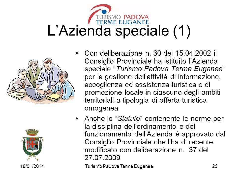 18/01/2014Turismo Padova Terme Euganee29 LAzienda speciale (1) Con deliberazione n. 30 del 15.04.2002 il Consiglio Provinciale ha istituito lAzienda s