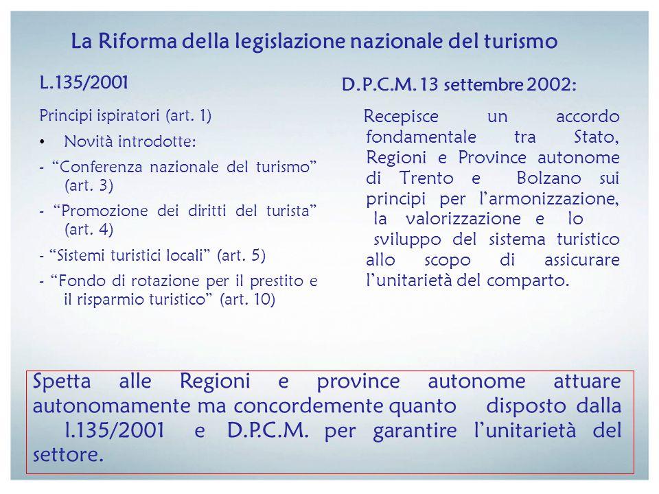 La Riforma della legislazione nazionale del turismo L.135/2001 Principi ispiratori (art. 1) Novità introdotte: - Conferenza nazionale del turismo (art