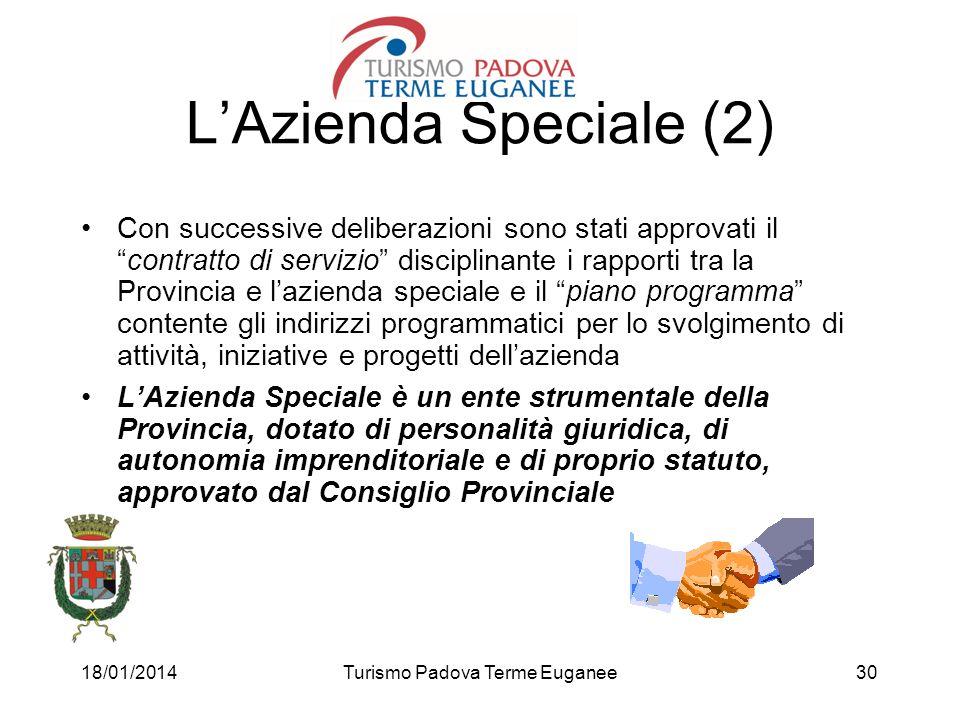 18/01/2014Turismo Padova Terme Euganee30 LAzienda Speciale (2) Con successive deliberazioni sono stati approvati ilcontratto di servizio disciplinante