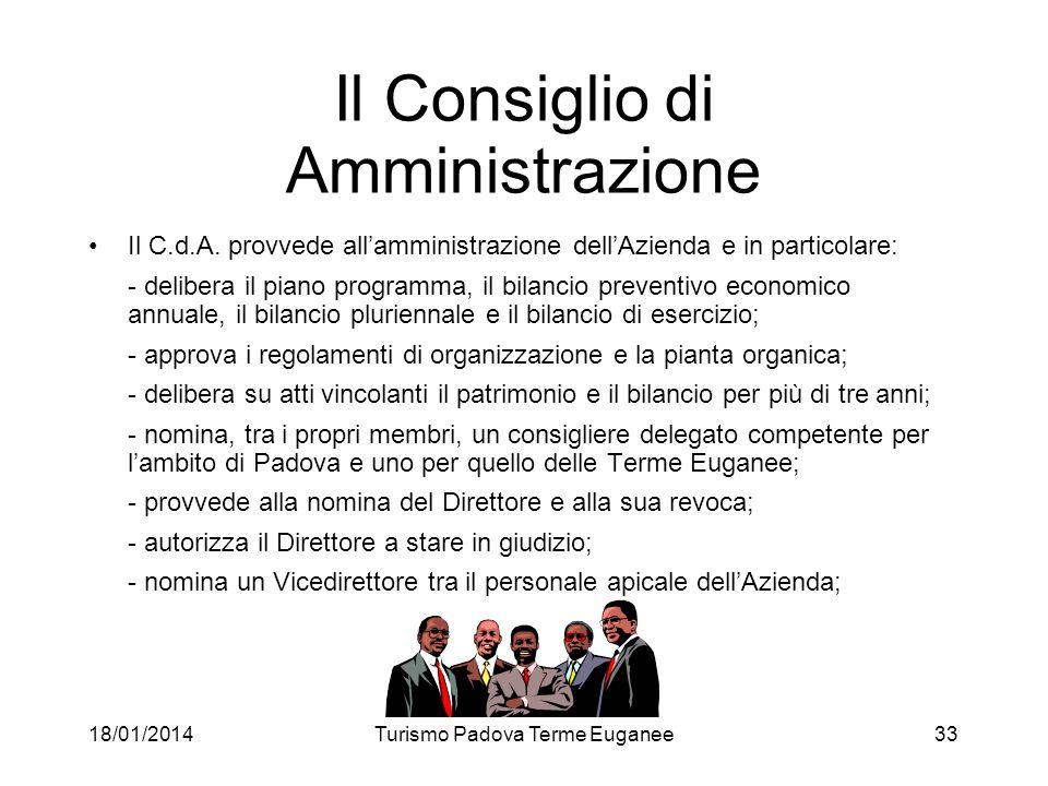 18/01/2014Turismo Padova Terme Euganee33 Il Consiglio di Amministrazione Il C.d.A. provvede allamministrazione dellAzienda e in particolare: - deliber