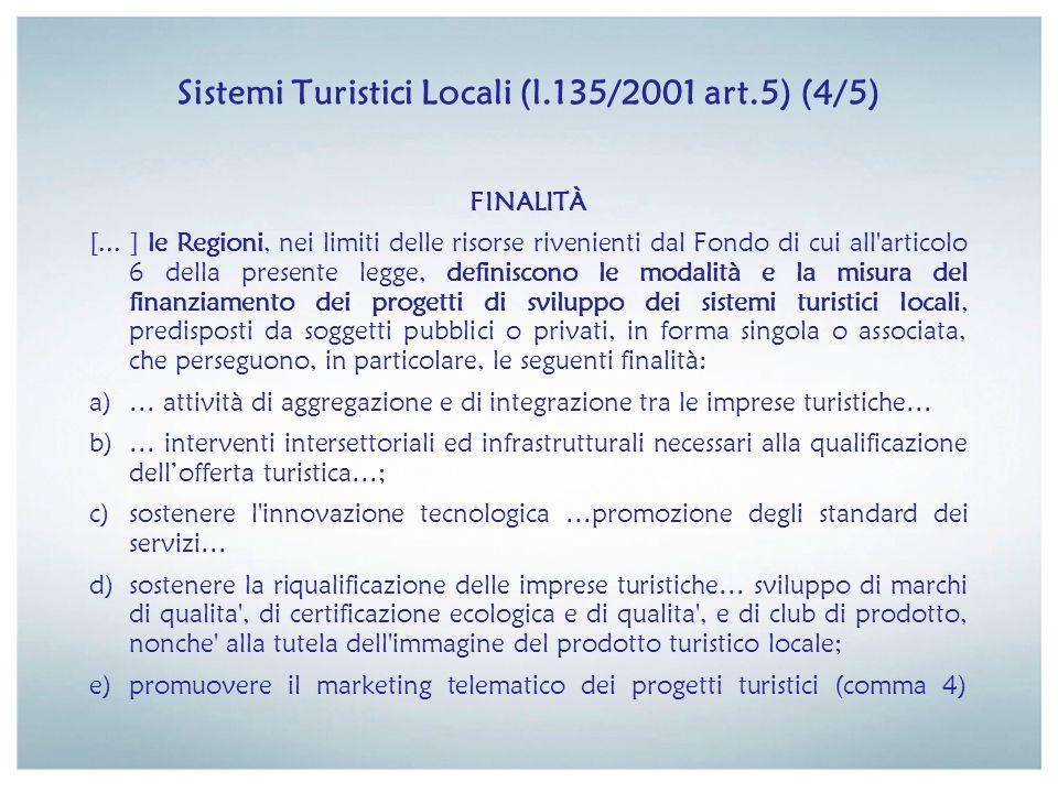 Sistemi Turistici Locali (l.135/2001 art.5) (5/5) RISORSE FINANZIARIE Il Ministero dellindustria, del commercio e dellartigianato, a decorrere dallesercizio finanziario 2001, nellambito delle disponibilità assegnate dalla legge finanziaria al Fondo unico per gli incentivi alle imprese, di cui allarticolo 52 della legge 23 dicembre 1998, n.