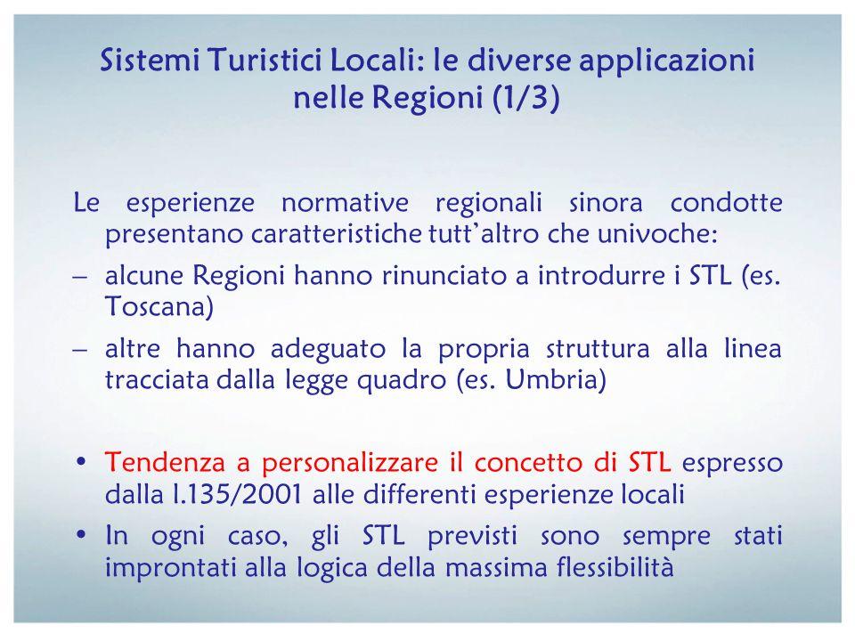Sistemi Turistici Locali: le diverse applicazioni nelle Regioni (1/3) Le esperienze normative regionali sinora condotte presentano caratteristiche tut