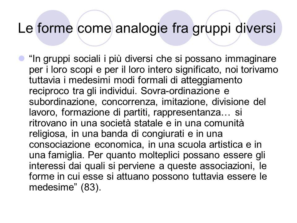 Le forme come analogie fra gruppi diversi In gruppi sociali i più diversi che si possano immaginare per i loro scopi e per il loro intero significato, noi torivamo tuttavia i medesimi modi formali di atteggiamento reciproco tra gli individui.