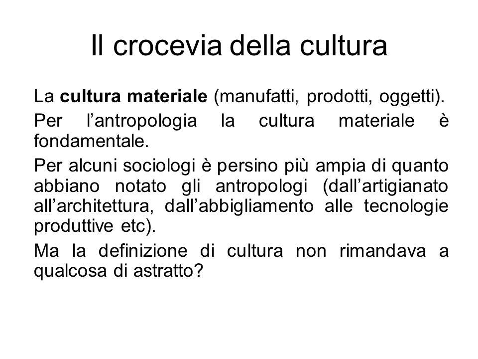 Il crocevia della cultura La cultura materiale (manufatti, prodotti, oggetti). Per lantropologia la cultura materiale è fondamentale. Per alcuni socio
