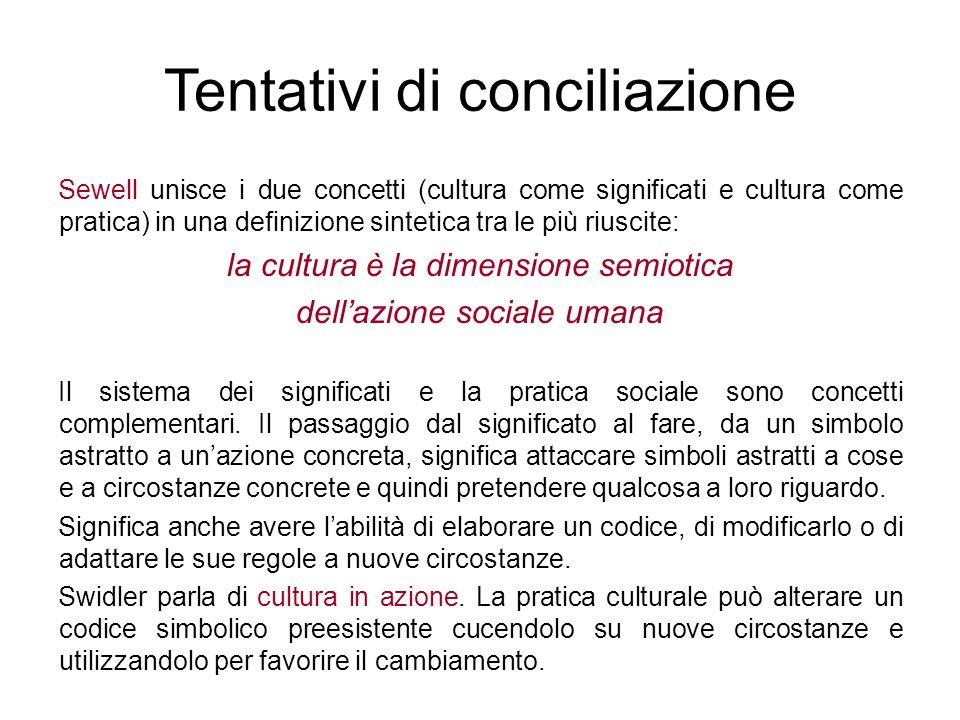 Sewell unisce i due concetti (cultura come significati e cultura come pratica) in una definizione sintetica tra le più riuscite: la cultura è la dimen
