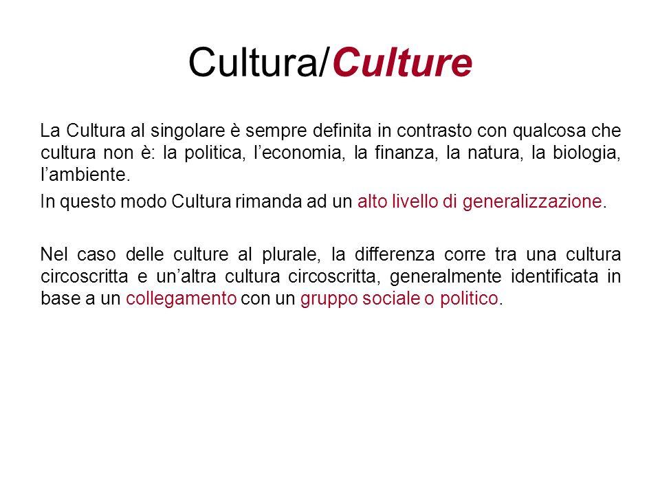 La Cultura al singolare è sempre definita in contrasto con qualcosa che cultura non è: la politica, leconomia, la finanza, la natura, la biologia, lam