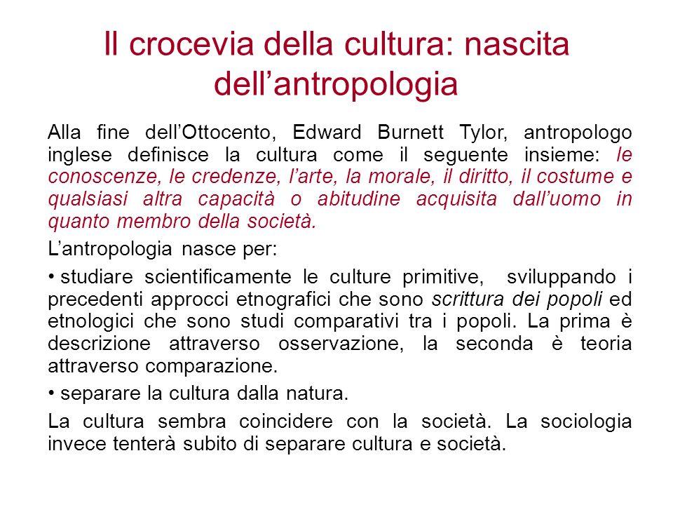 Il crocevia della cultura: nascita dellantropologia Alla fine dellOttocento, Edward Burnett Tylor, antropologo inglese definisce la cultura come il se