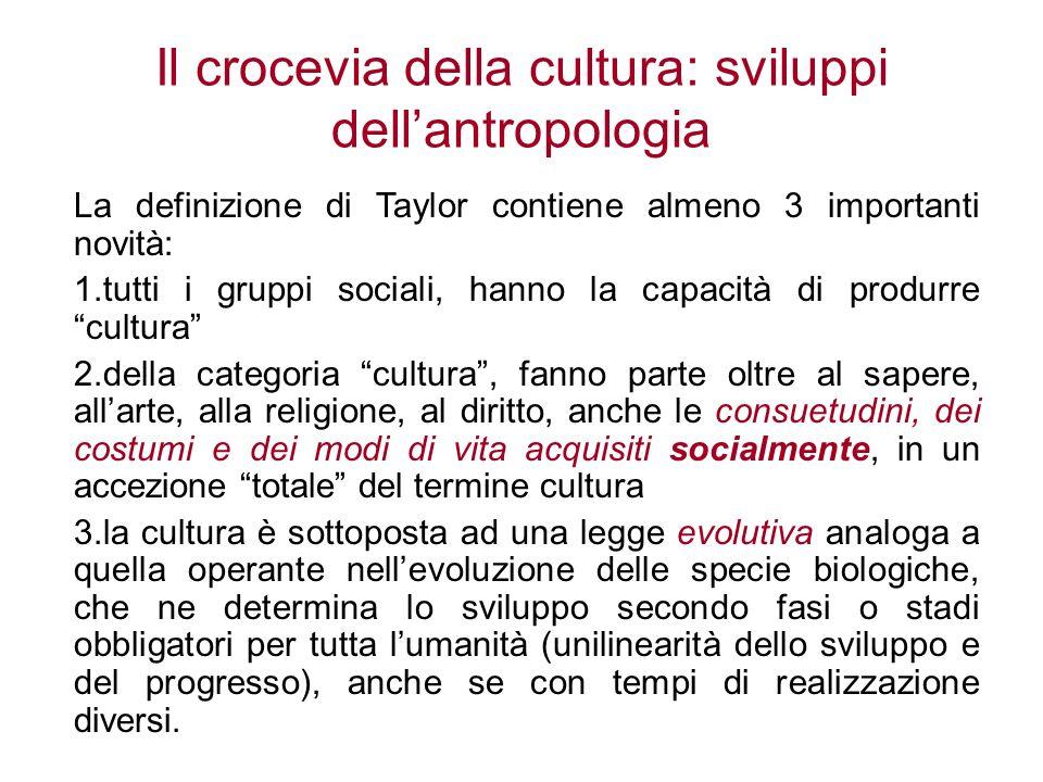 Il crocevia della cultura: sviluppi dellantropologia La definizione di Taylor contiene almeno 3 importanti novità: 1.tutti i gruppi sociali, hanno la