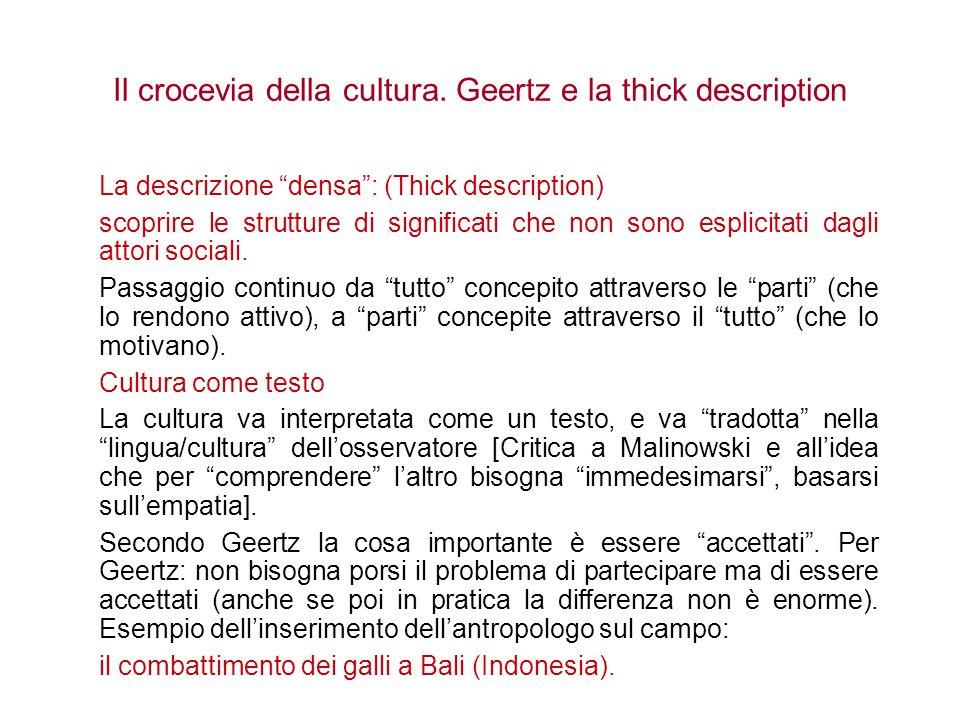 Il crocevia della cultura. Geertz e la thick description La descrizione densa: (Thick description) scoprire le strutture di significati che non sono e