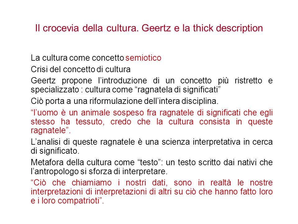 Il crocevia della cultura. Geertz e la thick description La cultura come concetto semiotico Crisi del concetto di cultura Geertz propone lintroduzione