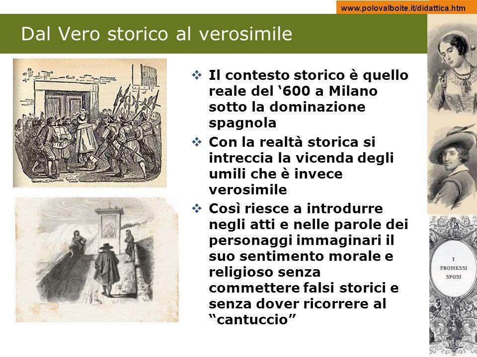 www.polovalboite.it/didattica.htm Dal Vero storico al verosimile Il contesto storico è quello reale del 600 a Milano sotto la dominazione spagnola Con