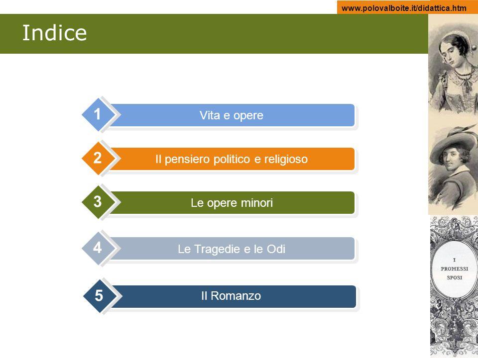www.polovalboite.it/didattica.htm Indice Vita e opere 1 Il pensiero politico e religioso 2 Le opere minori 3 Le Tragedie e le Odi 4 Il Romanzo 5
