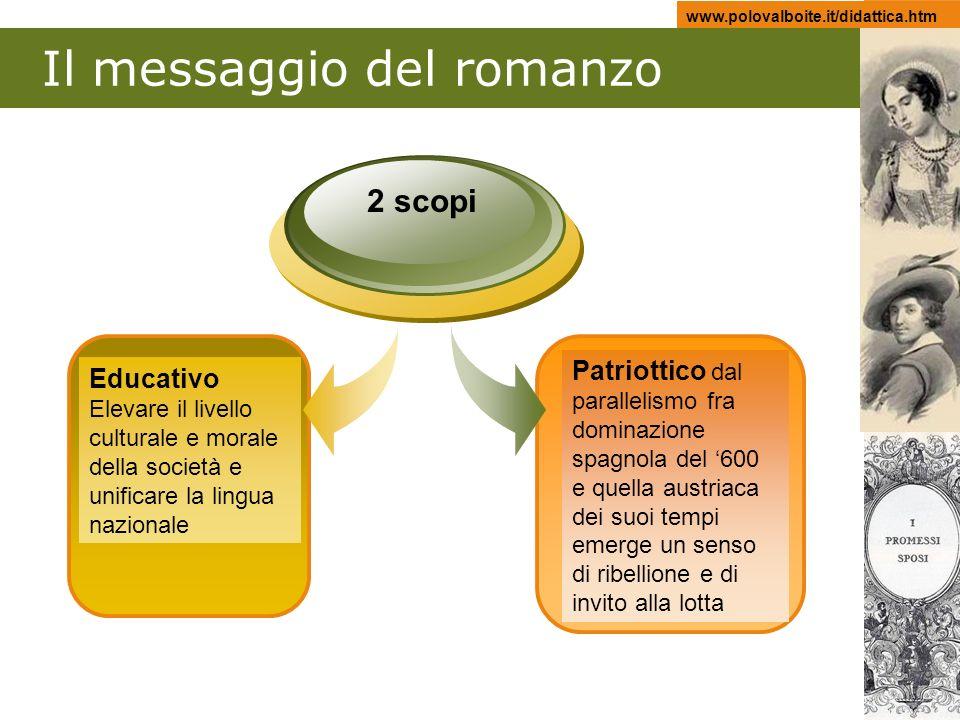 www.polovalboite.it/didattica.htm Il messaggio del romanzo Educativo Elevare il livello culturale e morale della società e unificare la lingua naziona