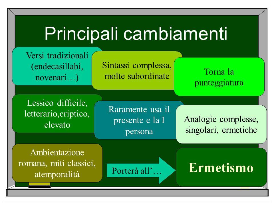 Principali cambiamenti Versi tradizionali (endecasillabi, novenari…) Sintassi complessa, molte subordinate Torna la punteggiatura Lessico difficile, l