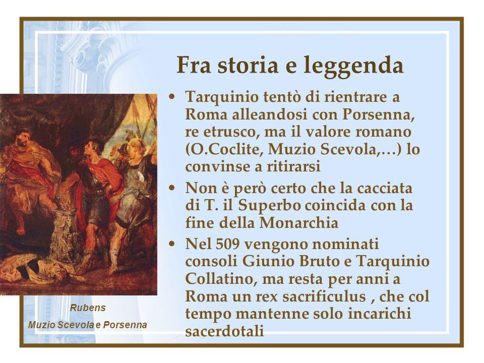 Fra storia e leggenda Tarquinio tentò di rientrare a Roma alleandosi con Porsenna, re etrusco, ma il valore romano (O.Coclite, Muzio Scevola,…) lo convinse a ritirarsi Non è però certo che la cacciata di T.