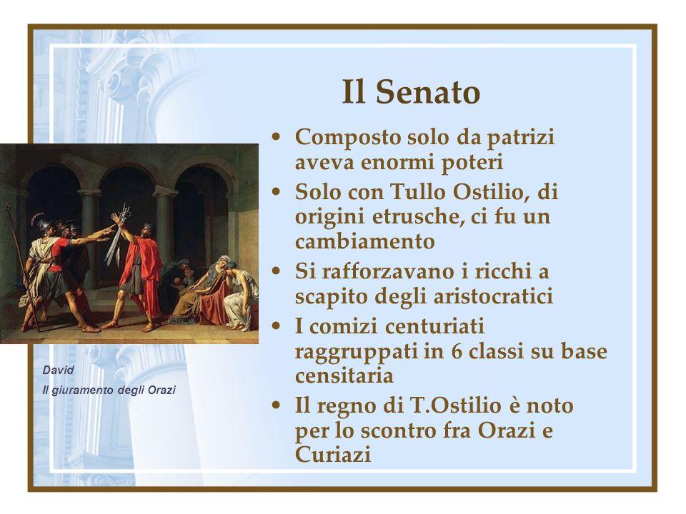 Il Senato Composto solo da patrizi aveva enormi poteri Solo con Tullo Ostilio, di origini etrusche, ci fu un cambiamento Si rafforzavano i ricchi a sc