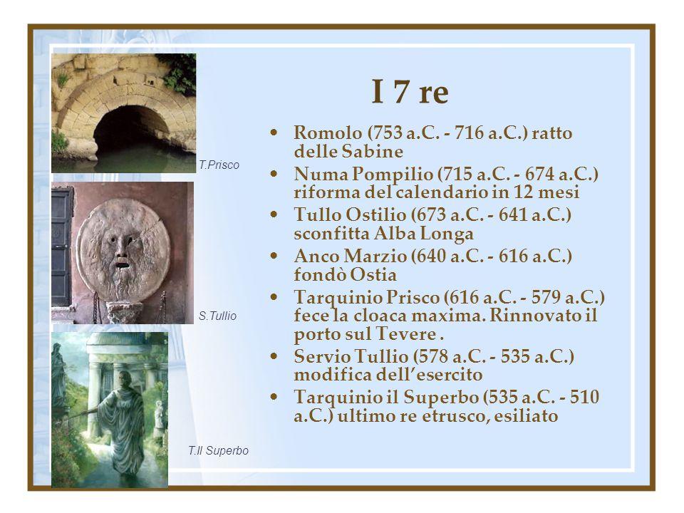 I 7 re Romolo (753 a.C. - 716 a.C.) ratto delle Sabine Numa Pompilio (715 a.C. - 674 a.C.) riforma del calendario in 12 mesi Tullo Ostilio (673 a.C. -
