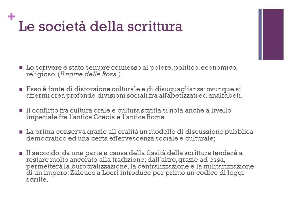 + Le società della scrittura Lo scrivere è stato sempre connesso al potere, politico, economico, religioso. (Il nome della Rosa ) Esso è fonte di dist