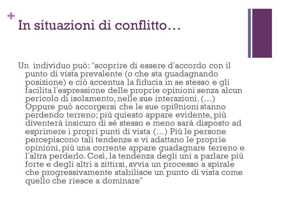+ In situazioni di conflitto… Un individuo può: scoprire di essere daccordo con il punto di vista prevalente (o che sta guadagnando posizione) e ciò a