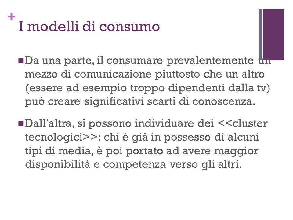 + I modelli di consumo Da una parte, il consumare prevalentemente un mezzo di comunicazione piuttosto che un altro (essere ad esempio troppo dipendent