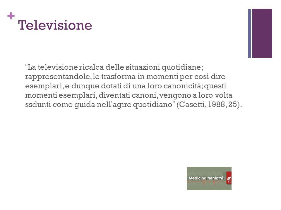 + Televisione La televisione ricalca delle situazioni quotidiane; rappresentandole, le trasforma in momenti per così dire esemplari, e dunque dotati d