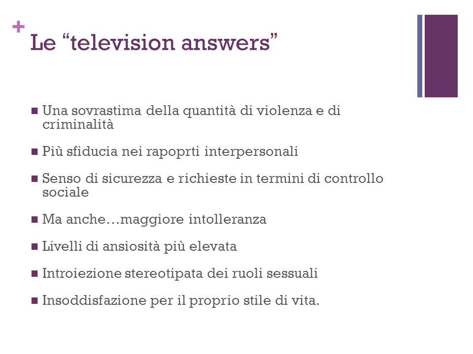 + Le television answers Una sovrastima della quantità di violenza e di criminalità Più sfiducia nei rapoprti interpersonali Senso di sicurezza e richi