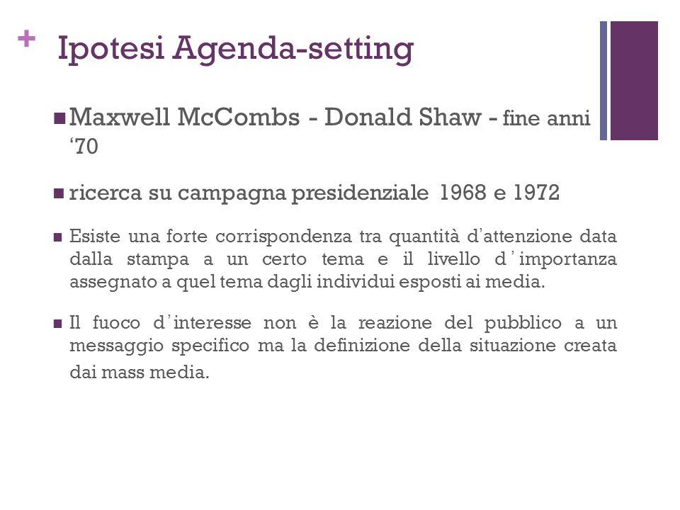 + Ipotesi Agenda-setting Maxwell McCombs - Donald Shaw - fine anni70 ricerca su campagna presidenziale 1968 e 1972 Esiste una forte corrispondenza tra