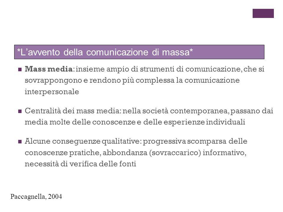 Mass media: insieme ampio di strumenti di comunicazione, che si sovrappongono e rendono più complessa la comunicazione interpersonale Centralità dei m
