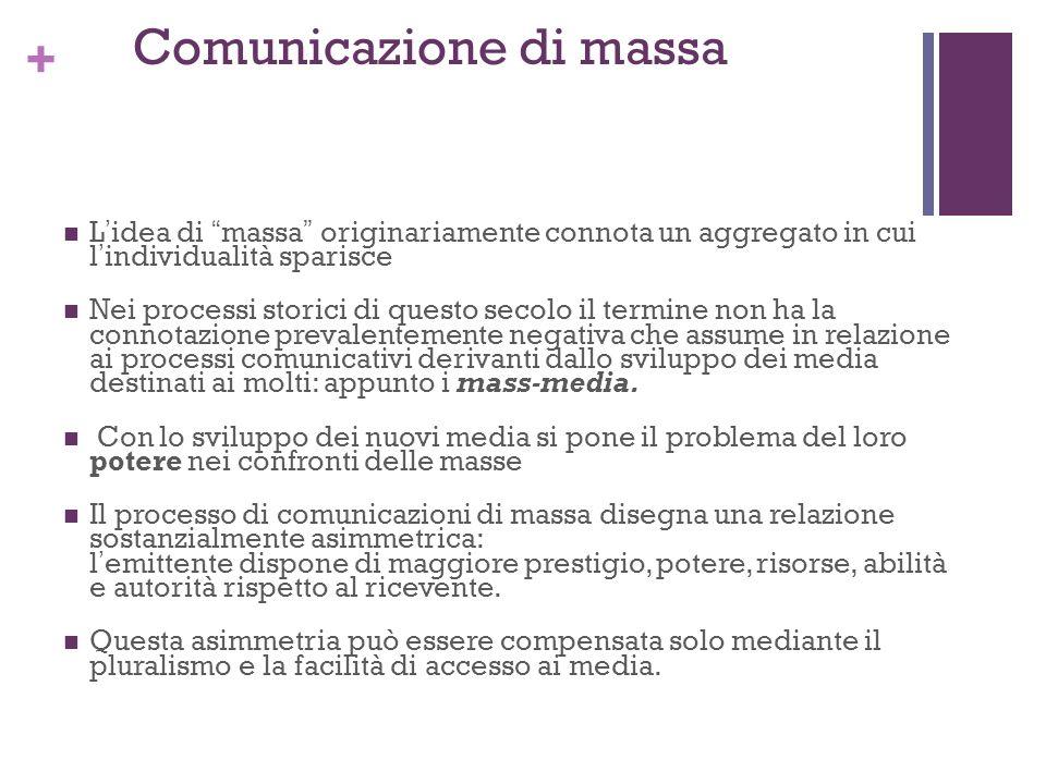+ Comunicazione di massa Lidea di massa originariamente connota un aggregato in cui lindividualità sparisce Nei processi storici di questo secolo il t