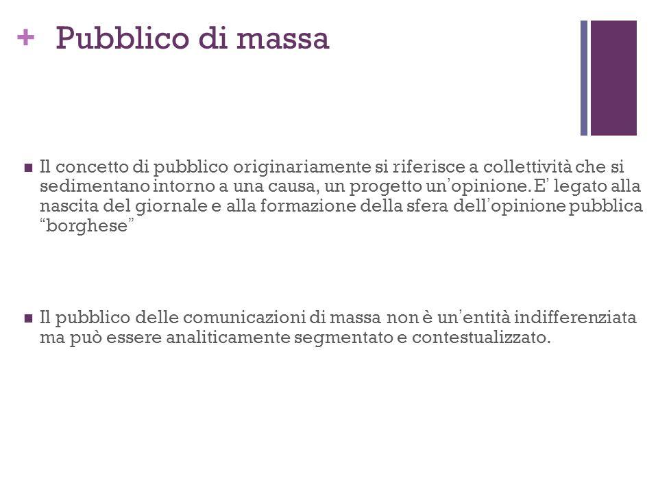 + Pubblico di massa Il concetto di pubblico originariamente si riferisce a collettività che si sedimentano intorno a una causa, un progetto unopinione